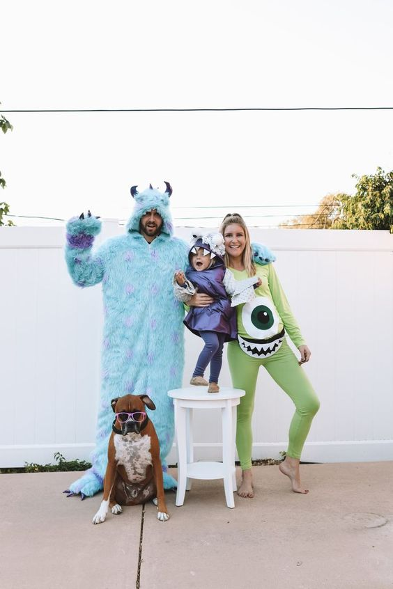 Monsters Inc family Halloween costume with dog