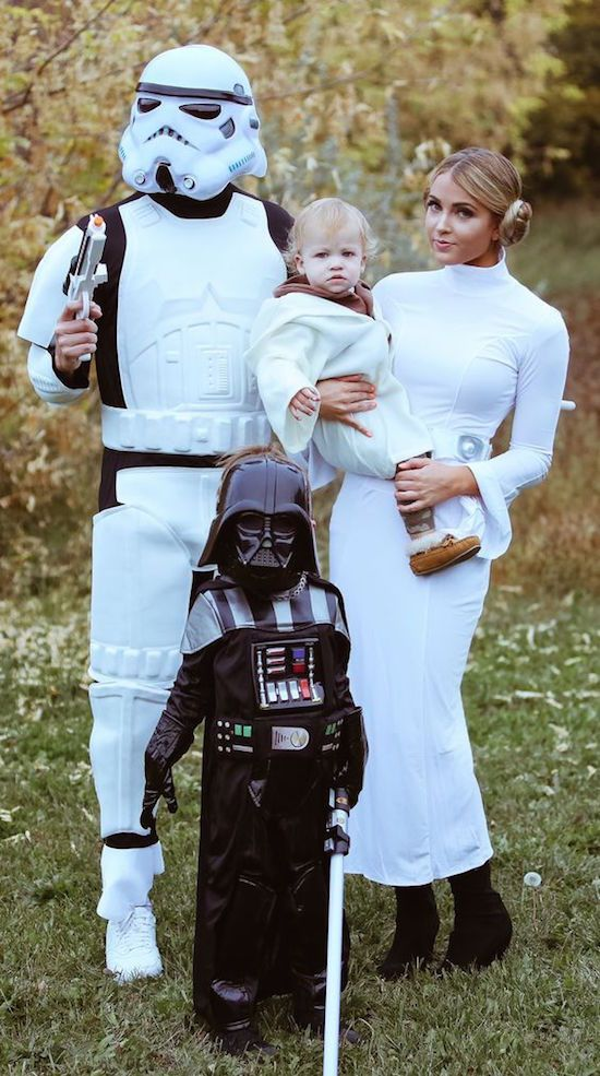 Star Wars family halloween costumes with Princess Leia, Stormtrooper, Luke Skywalker and Darth Vader