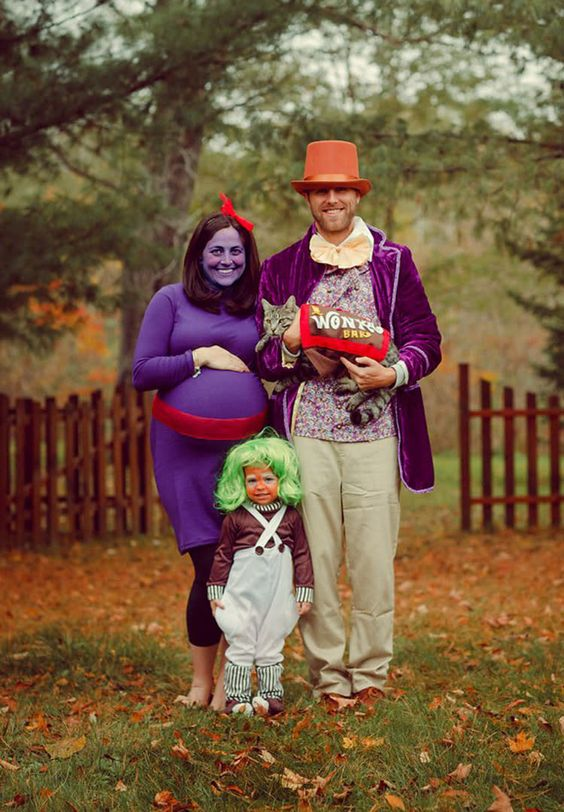 Charlie and the chocolate factory family costume with toddler