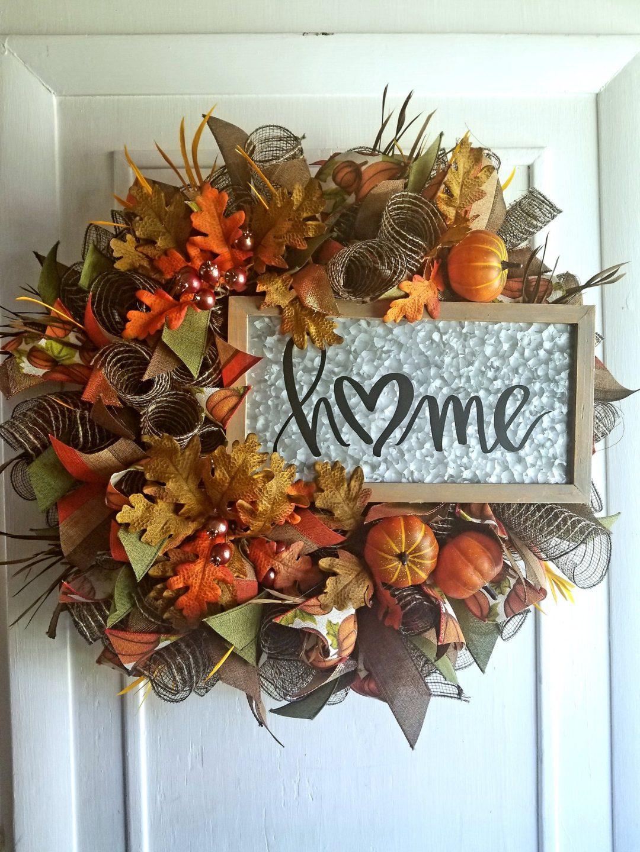 Beautiful deco mesh fall wreath