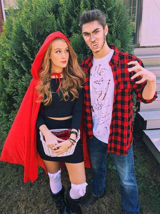 Couples costumes 2020, couples halloween costumes, Red ridinghood costume