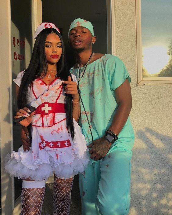 Nurse couples costume