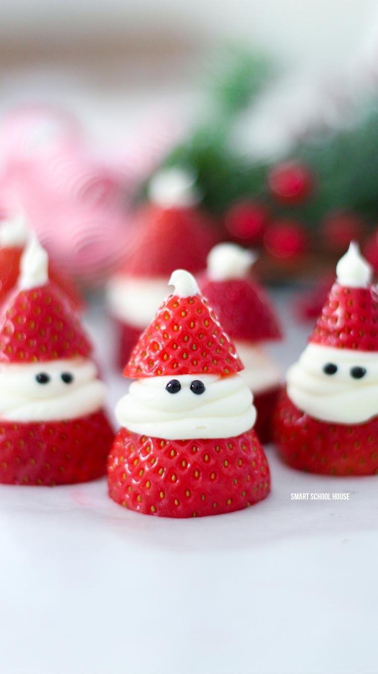 Healthy Christmas Treats & Snacks: Strawberry Santas