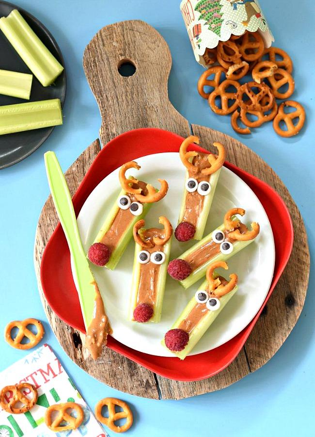 Cute Christmas Treats: Peanut Butter Celery Reindeer Sticks