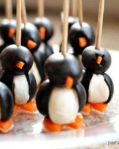 Cute & Healthy Christmas Treats: Black Olive Penguins