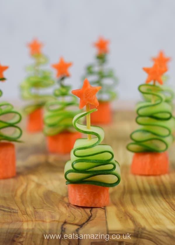 Easy & Healthy Cucumber Christmas Tree Snacks