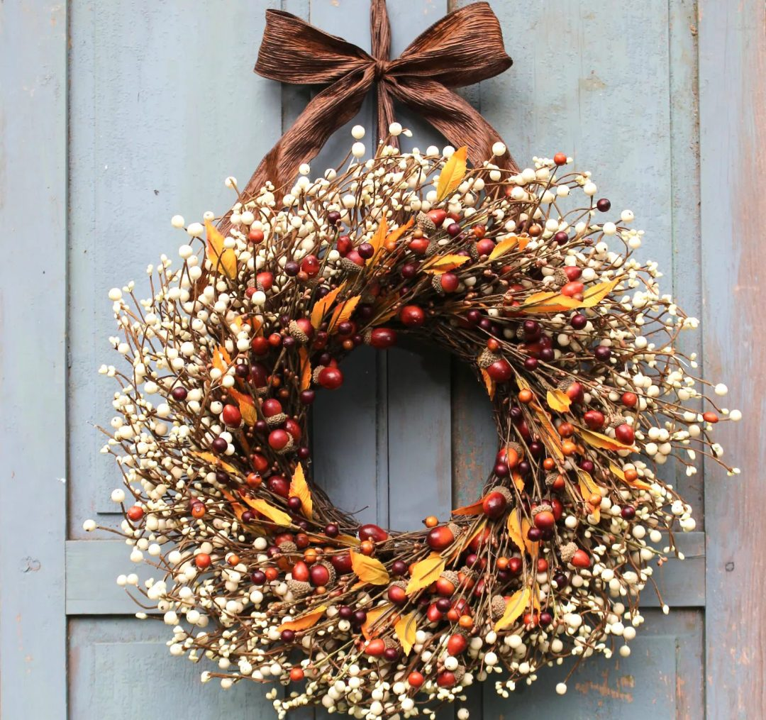 Rustic acorn fall wreath