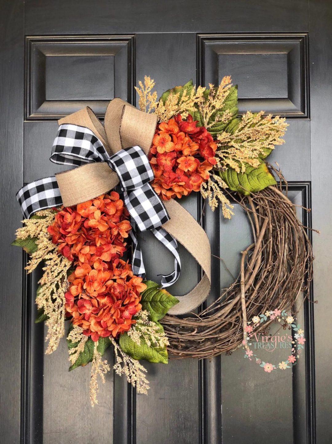 Orange hydrangea fall wreath