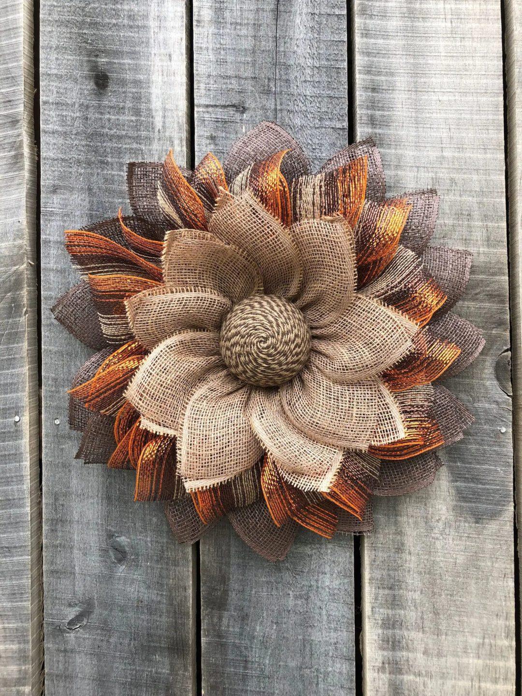 Brown and beige burlap metallic fall wreath