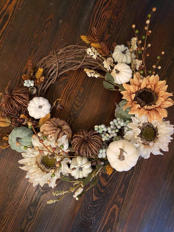 Sunflower and pumpkins fall wreath
