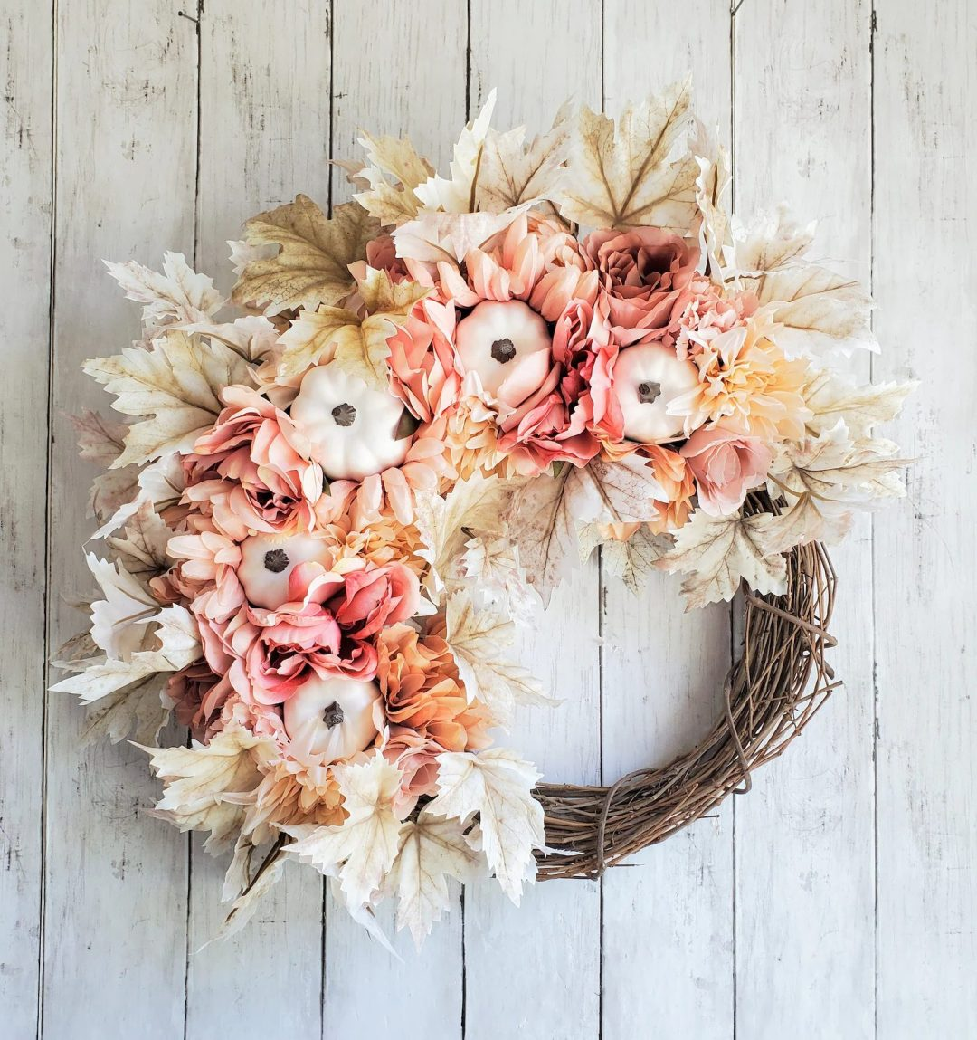 Cream Pink Pumpkin Wreath