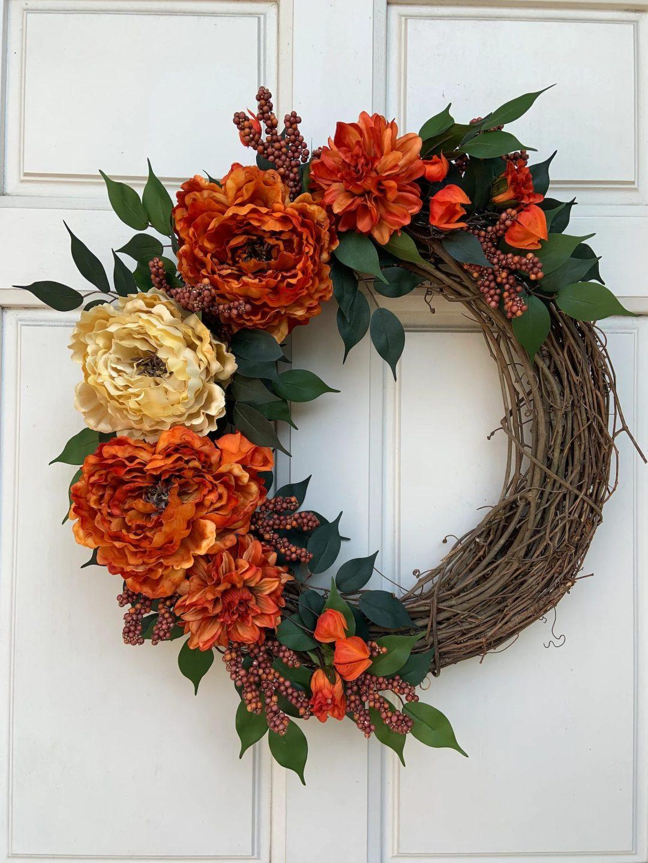 Burnt orange and golden peonies fall wreath