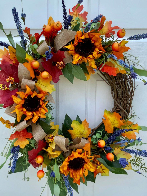 Blue denim sunflower wreath
