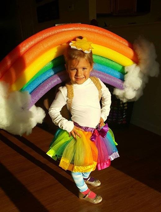 Unique kids costumes for Halloween - DIY Rainbow costume for kids