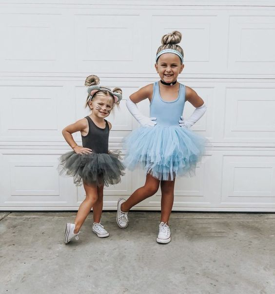 Cute Tinkerbell & Cinderella Halloween costume for sisters