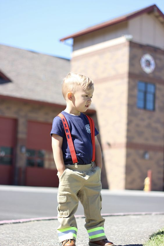 Cute firefighter Halloween costume for baby boys