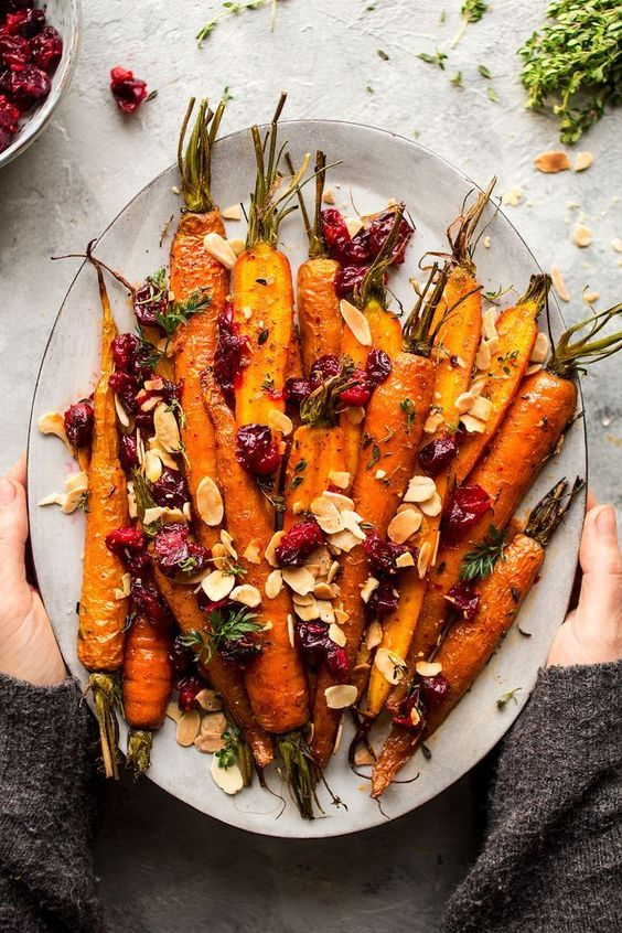 Best Christmas side dishes: Maple Roasted Carrots With Cranberries