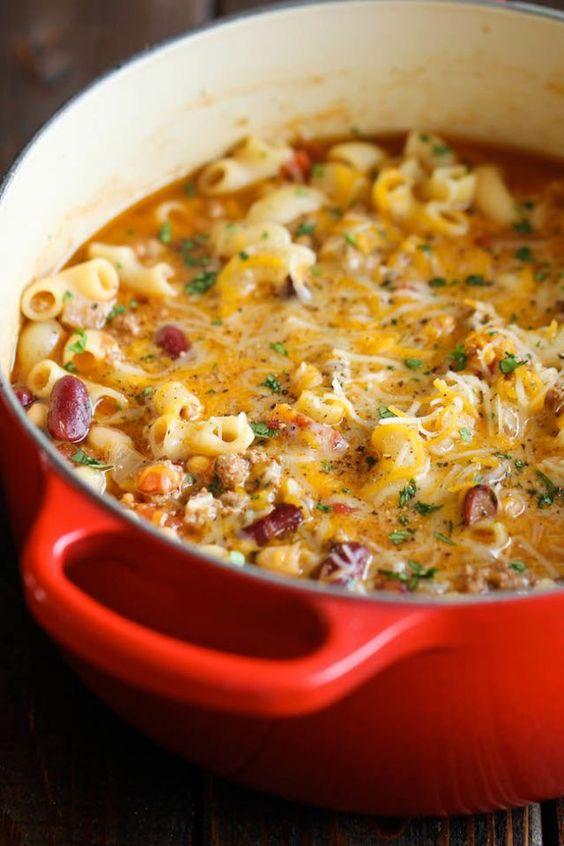 Best fall crockpot chili mac and cheese