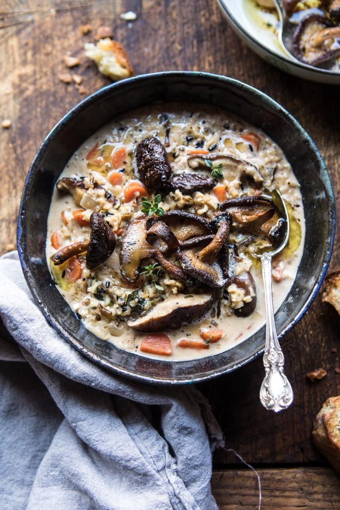 Creamy Wild Rice Soup with Mushrooms