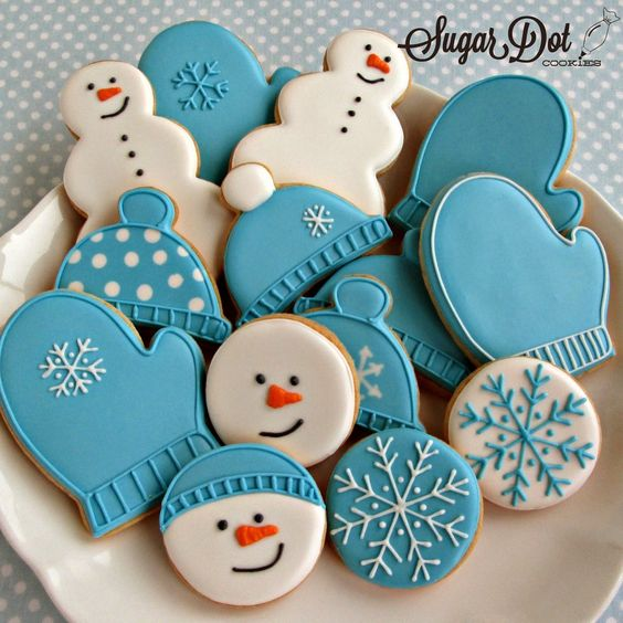 Mittens, Hats and Snowman Sugar Cookies