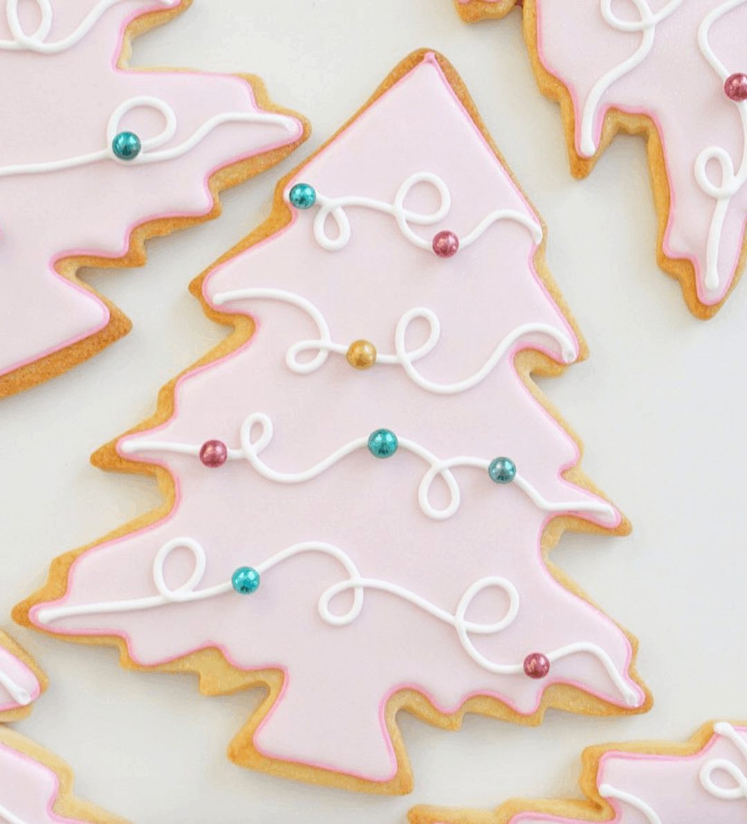 Pink Christmas Tree Sugar Cookies