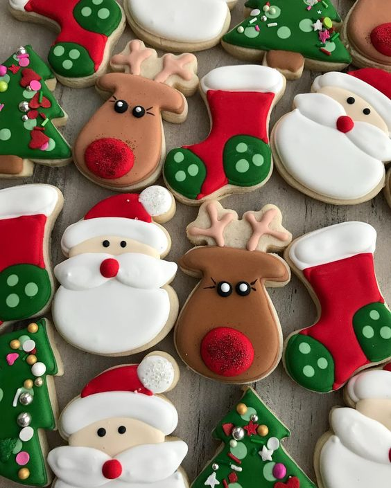Merry Christmas Sugar Cookies With Santa And Rudolph