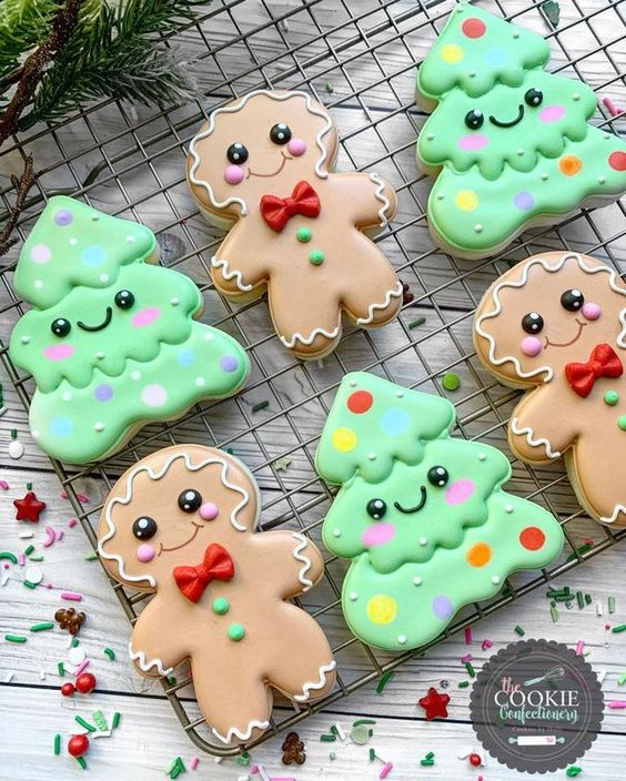 Cute Gingerbread and Christmas Tree Cookies