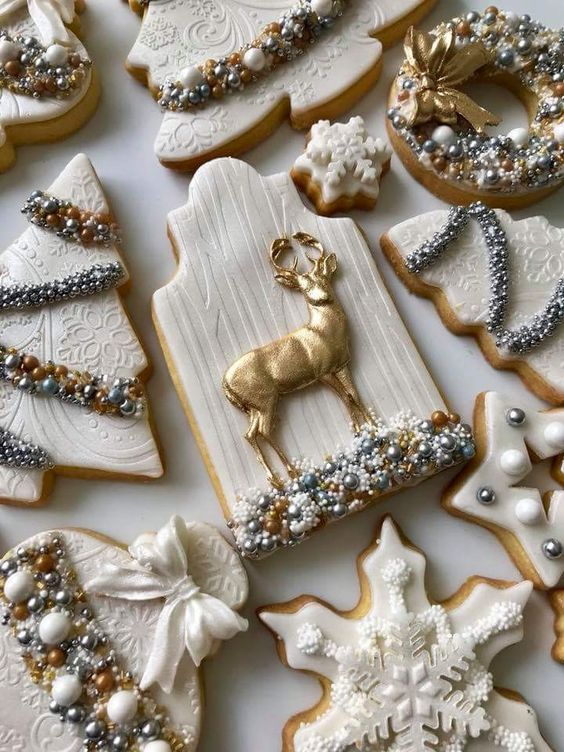 Elegant Winter Sugar Cookies With Gold & White