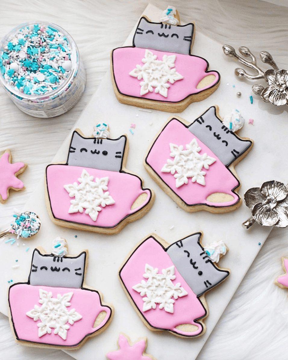 Pusheen Hot Chocolate Sugar Cookies
