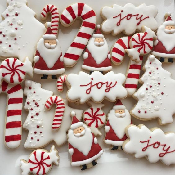 Red and White Christmas Sugar Cookies