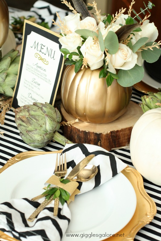 DIY Gold pumpkin vase and black and white table settings