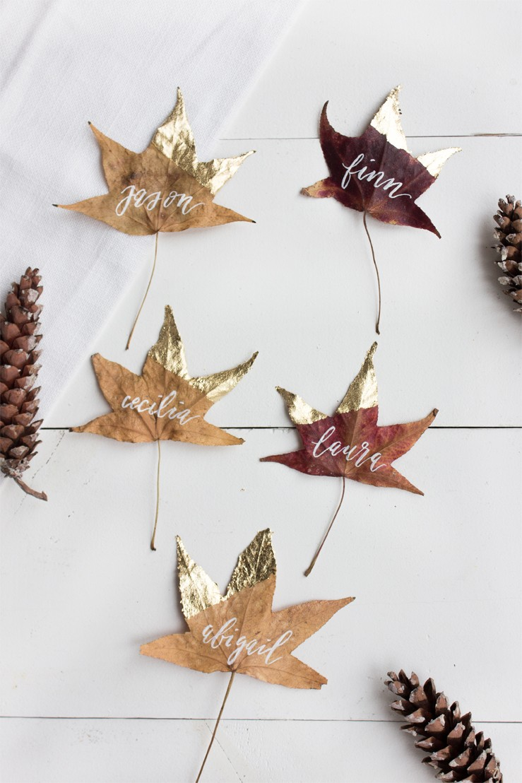DY gold dipped leaves - rustic Thanksgiving name tag ideas