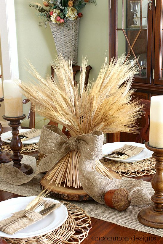 Rustic Thanksgiving centerpiece with wheat bundle - rustic Thanksgiving table settings