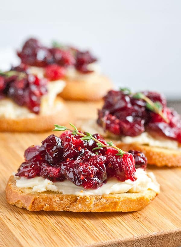 Best Thanksgiving Appetizers: Roasted Balsamic Cranberry and Brie Crostini