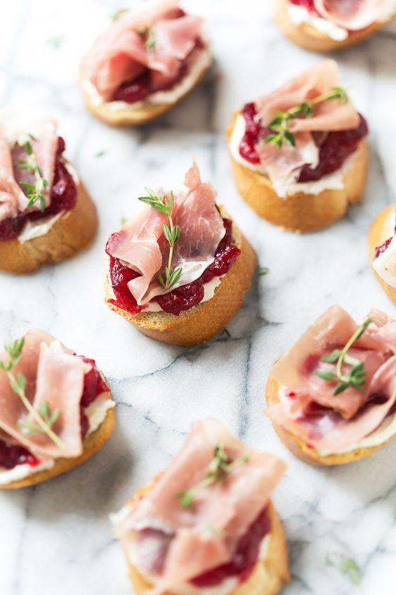 Cranberry & Prosciutto Crostini Appetizers