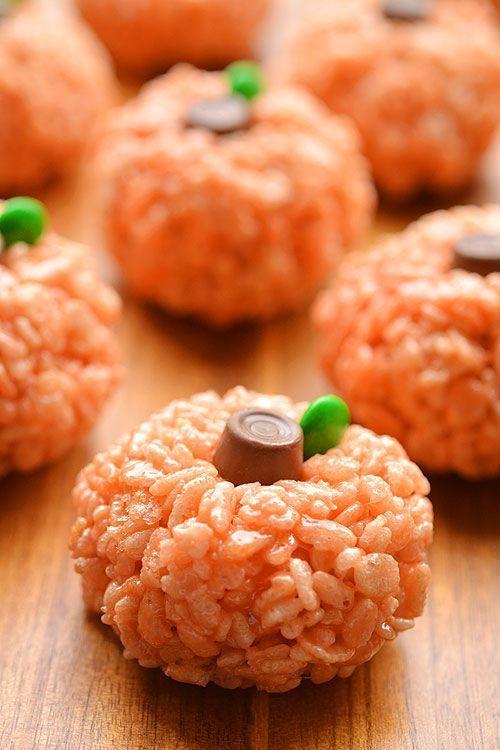 Easy Thanksgiving desserts: Rice Krispie Treat Pumpkins