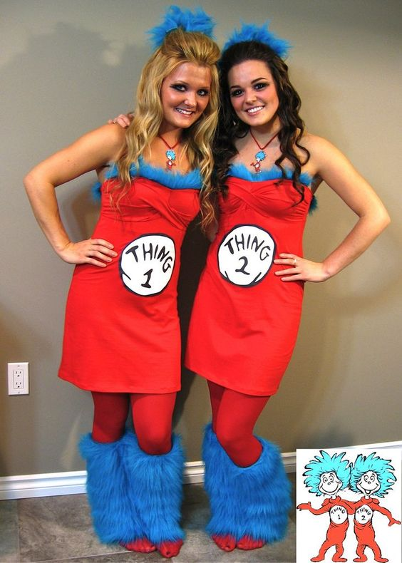 Cute teen Halloween costumes - Thing 1 and 2 from Dr Seuss