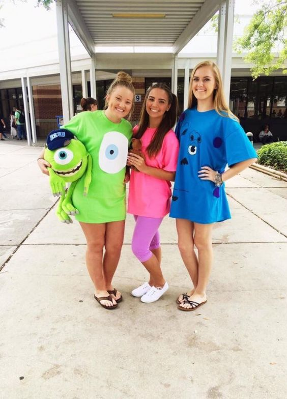 Trio Halloween costumes - Monsters Inc costumes for teens
