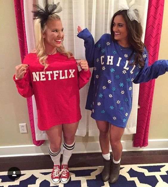Teenage girl cute Halloween costumes for teens - Netflix and Chill costumes