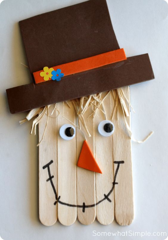 Easy Thanksgiving Crafts For Kids: Scarecrow Popsiclestick Craft