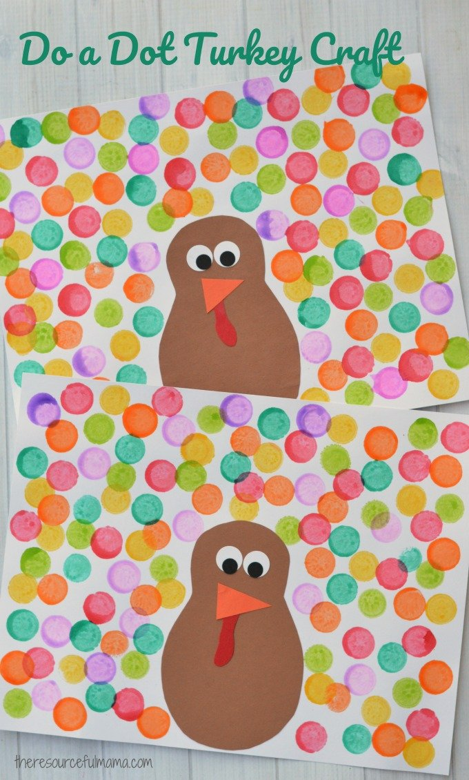Easy Thanksgiving crafts for kids: Do A Dot Turkey Craft