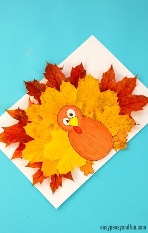 Easy Thanksgiving crafts for kids: Turkey Leaf Craft Template