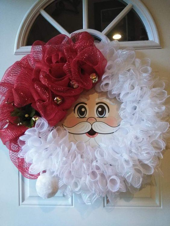 Deco Mesh Santa Wreath