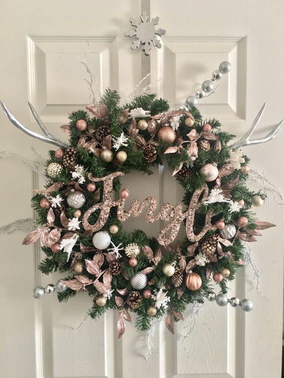 Rose gold rustic wreath