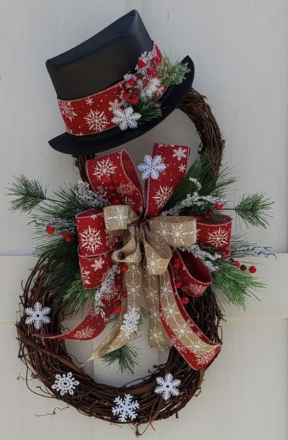 Rustic snowman wreath with ribbons