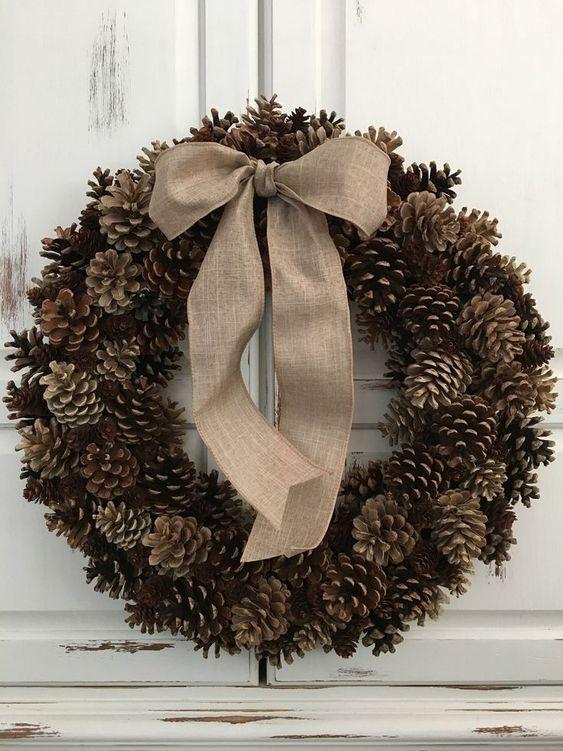 Rustic pinecone wreath with burlap