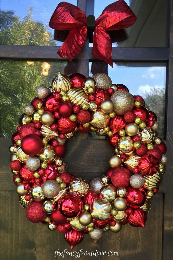 Red and gold bauble wreath with ribbon