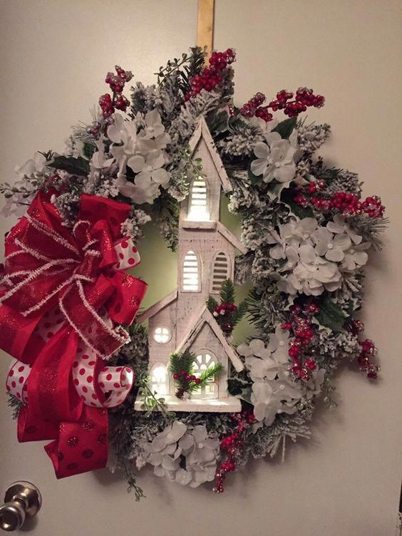 Church Wreath with red ribbon and lights