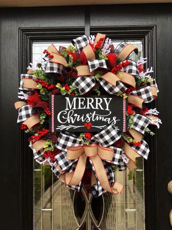 Rustic Christmas Wreath With Buffalo Plaid