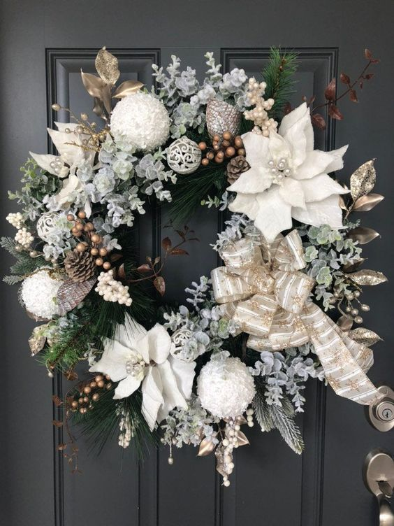 White Christmas wreath with flowers